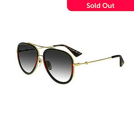 Gucci Gradient Lens Green & Red Aviator Frame Sunglasses w/ Case - EVINE