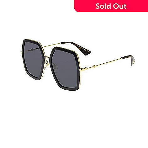 Gucci Gold-tone Accented Square Frame Sunglasses w/ Case - EVINE