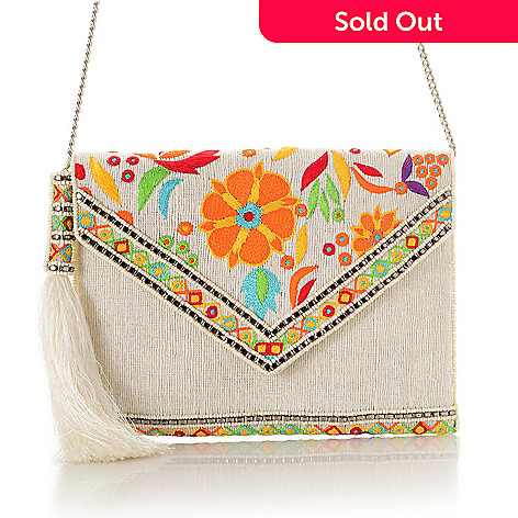 736-814- Mary Frances Hand-Beaded   Floral Embroidered Flap-over Clutch 538949a0852b9