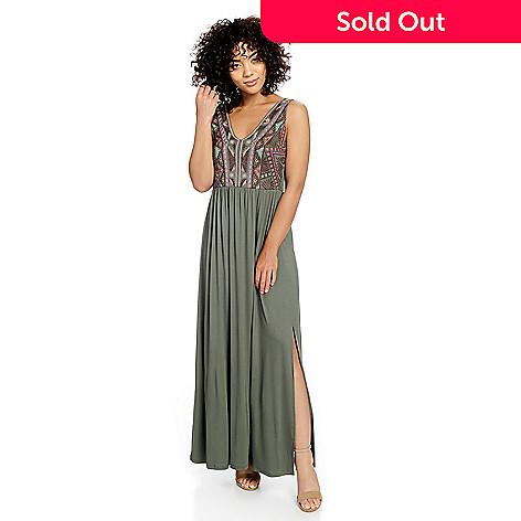 9350a59c12 Indigo Thread Co.™ Knit Sleeveless Empire Waist Embroidered V-Neck ...