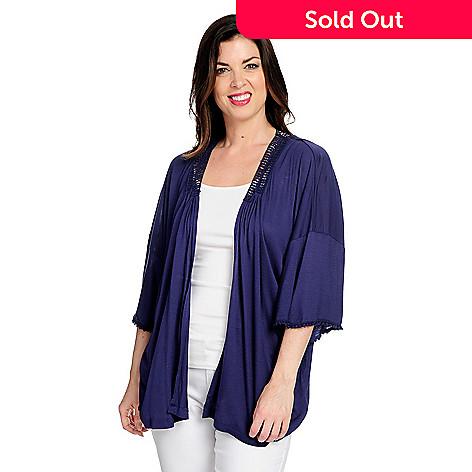 bb4cdb05dab One World Knit   Lace 3 4 Kimono Sleeve Open Front Draped Cardigan ...