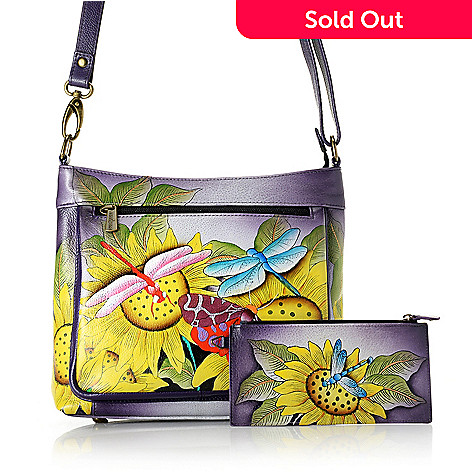 17f253eae76 737-751- Anuschka Hand-Painted Leather Zip Top Crossbody Bag w  Organizer