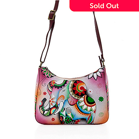 50f4ee1f3904 737-792- Anuschka Hand-Painted Leather Zip Top Hobo Crossbody Bag