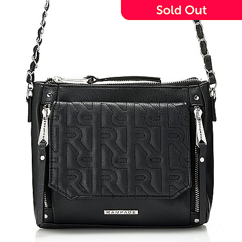 737 818 Rampage Quilted Logo Front Pocket Zip Top Mini Crossbody Bag