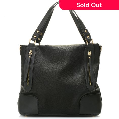 Mellow World Deborah Winkled Zipper Detailed Tote Bag W Removable Strap
