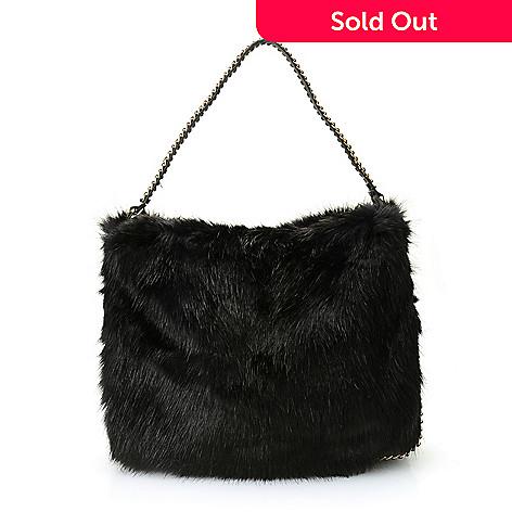 f3b0aed4861f 738-156- Donna Salyers  Fabulous-Furs Faux Fur Chain Detailed Hobo Handbag