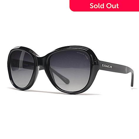 967bcb5d48a7d 739-149- Coach Black Polarized Round Frame Sunglasses w  Case