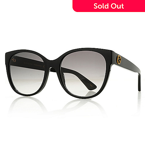 b6ba3e2a6ae 739-678- Gucci 56mm Black Round Frame Sunglasses w  Case