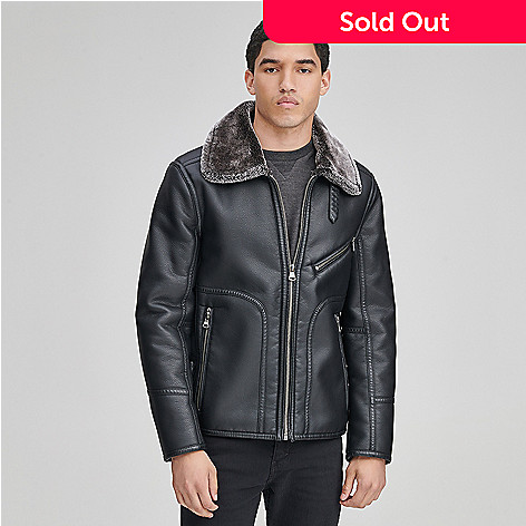 121d770a09e8 Marc New York Men's Faux Leather & Faux Fur Pointed Collar Zip Front ...