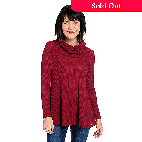 62865d00f OSO Casuals® Waffle Knit Long Sleeve Button Detailed Cowl Neck Top ...