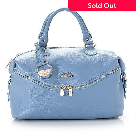 739-955- Versace Collection Pebbled Leather Front Zipper Pocket Satchel w   Removable Strap 5f8fc17378