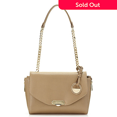 739-957- Versace Collection Saffiano Leather Flap-over Chain Detailed  Shoulder Bag d375a54030