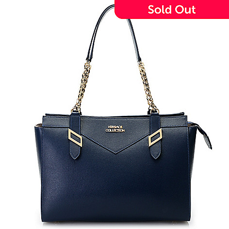 d27781ae7f 739-959- Versace Collection Saffiano Leather Chain Detailed Zip Top Tote Bag