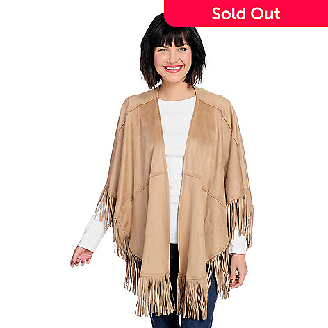 31d34e2bc 741-148- Nygård Slims Faux Suede 3/4 Sleeve Open Front Fringed Poncho