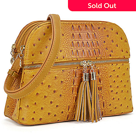 a6e6376b08 741-481- Dasein Ostrich Embossed Faux Leather Tassel Detailed Crossbody Bag