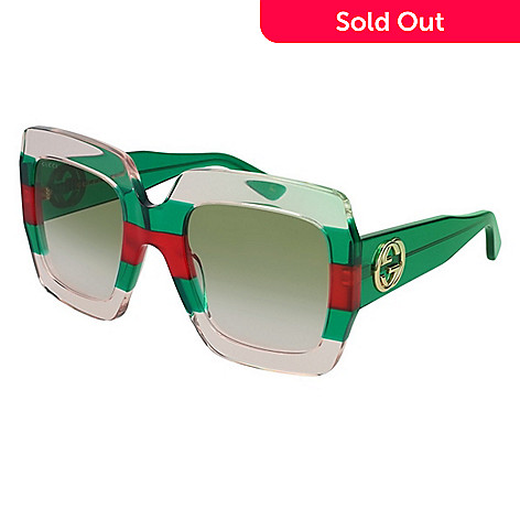 84babf378a1 742-005- Gucci 54mm Green   Red Square Frame Sunglasses w  Case