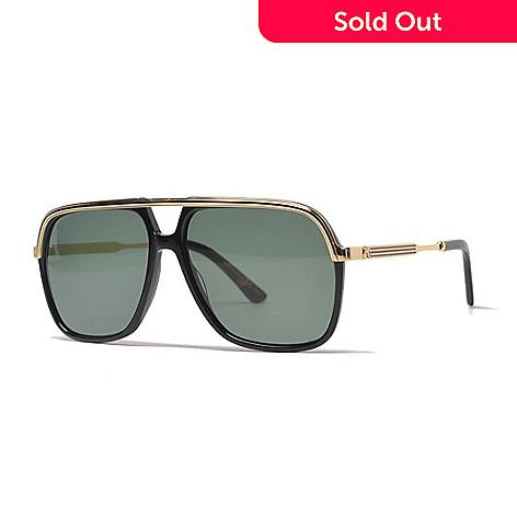 a80ee6eff254 Gucci 57mm Black & Gold-tone Aviator Frame Sunglasses w/ Case - EVINE