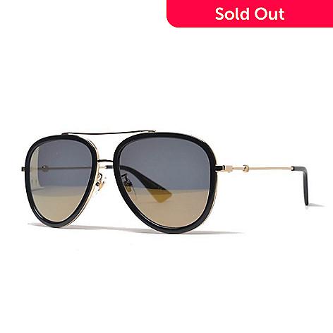 274f56c9752 Gucci Unisex 57mm Black   Gold-tone Aviator Frame Sunglasses w  Case ...