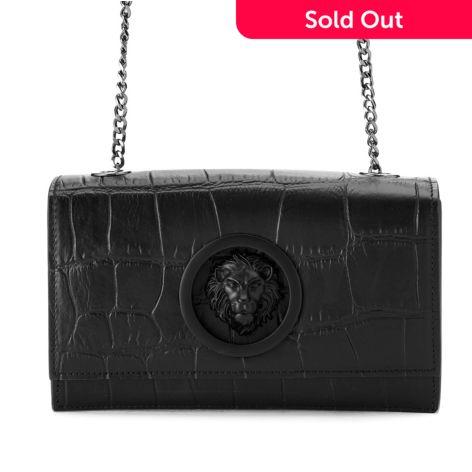 b1edc4b6 Versus Versace, Croco Embossed, Leather Flap-over, Crossbody Clutch, Bag w/  Chain Strap