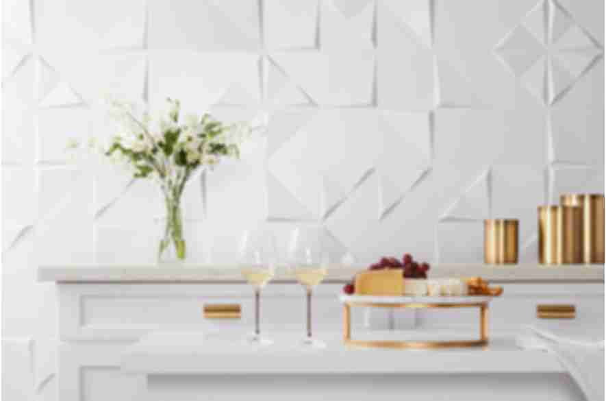 3-D white kitchen wall tile.