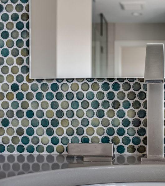 Dark Blue Circular Wall Tile Wash Area