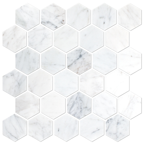 Firenze Carrara Honed Marble Hex Mosaic Tile 2 In The Tile Shop