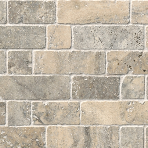 Claros Silver Broken Brick Travertine