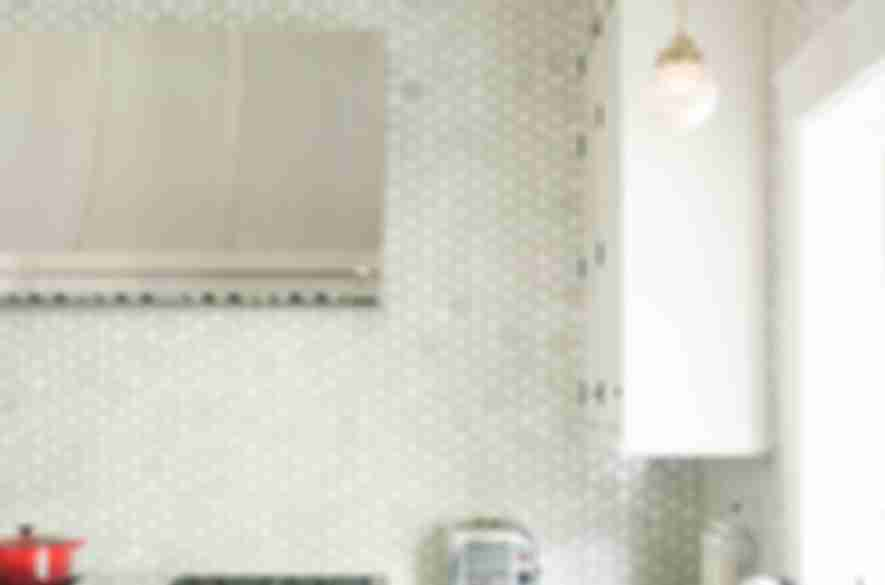 hexagon kitchen white wall tiles.