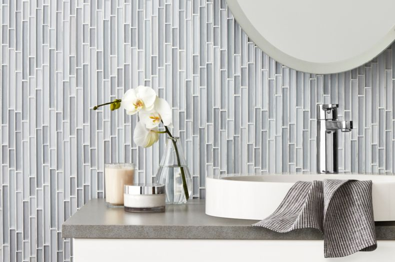 Grey Patterned Vertical Glass Tile Bathroom