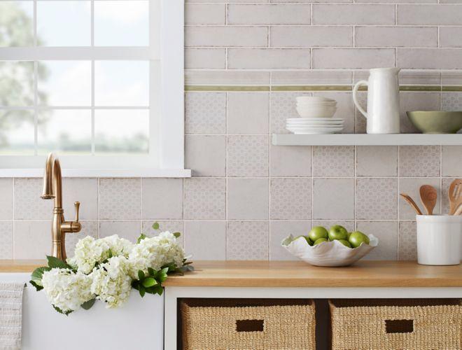 Modern farmhouse kitchen backsplash.