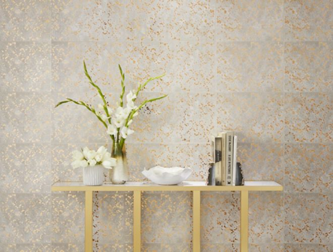Beautiful entryway with gold speckle wall tile.