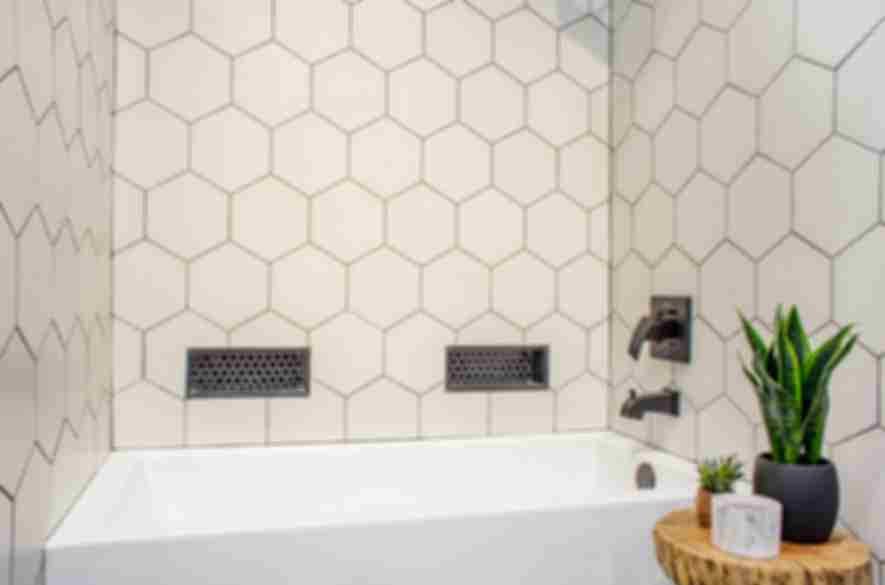 bathroom hexagon tiles.