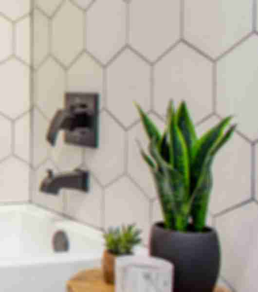 white hexagon wall tiles bathroom area.