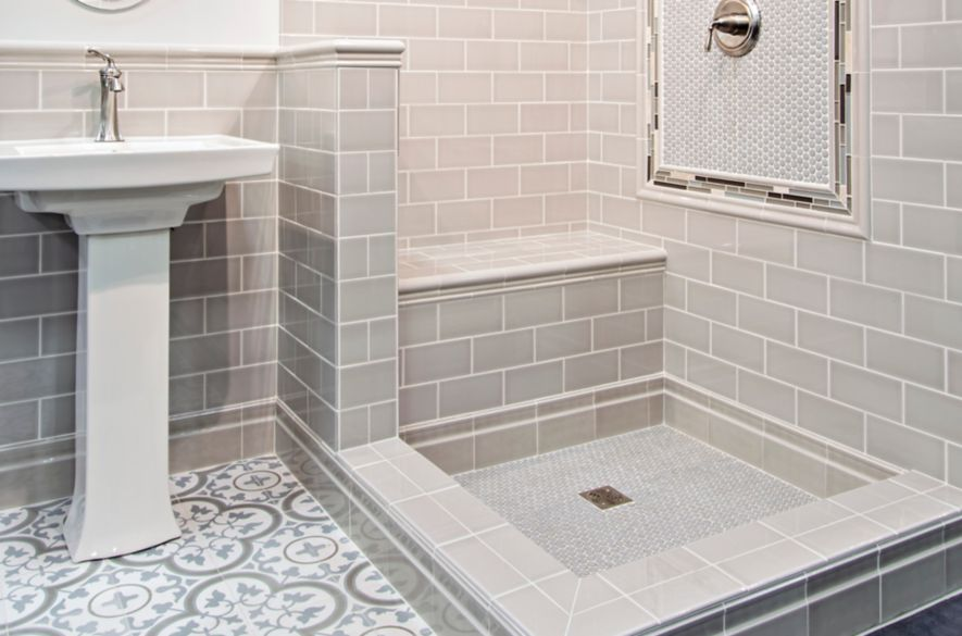 High Quality This Gorgeous Walk In Shower Uses Both Subway And Encaustic Look Tiles To  Create Allover Interest.