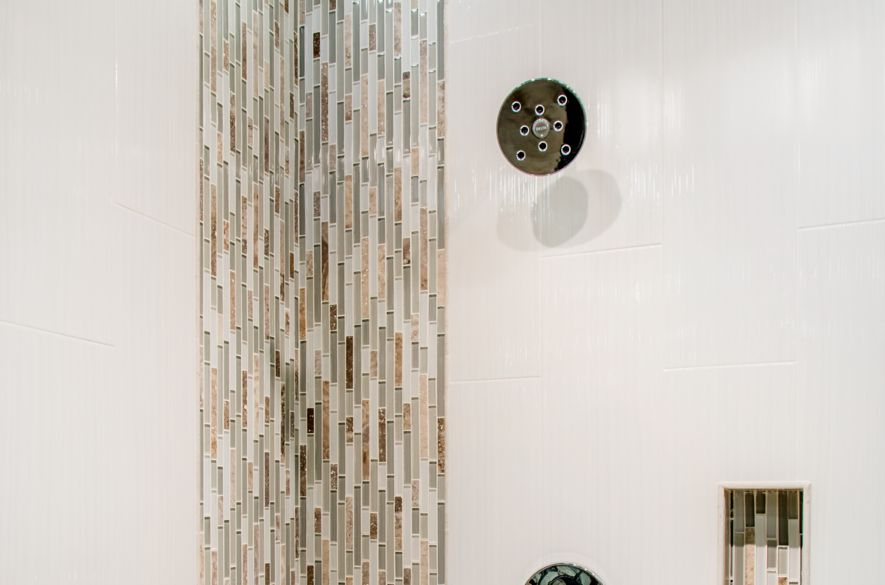 We Love How This Design Breaks Up All White Tile With A Colorful Gl Stria Mosaic