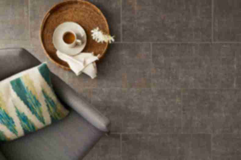Neutral taupe fabric-look lounge floor.