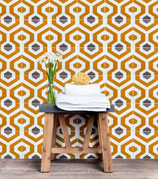 Artistic Orange Blue and White Patterned Tile Space