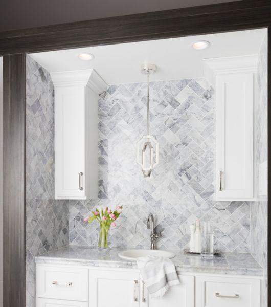 Mottled White Slanted Rectangle Tile Kitchen