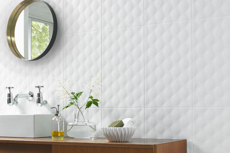 White Diamond Textured Tile Modern Wash Area