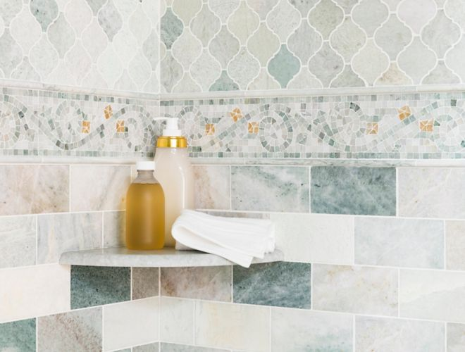 Warm to Cool Green with Gold Accent Tile Shower