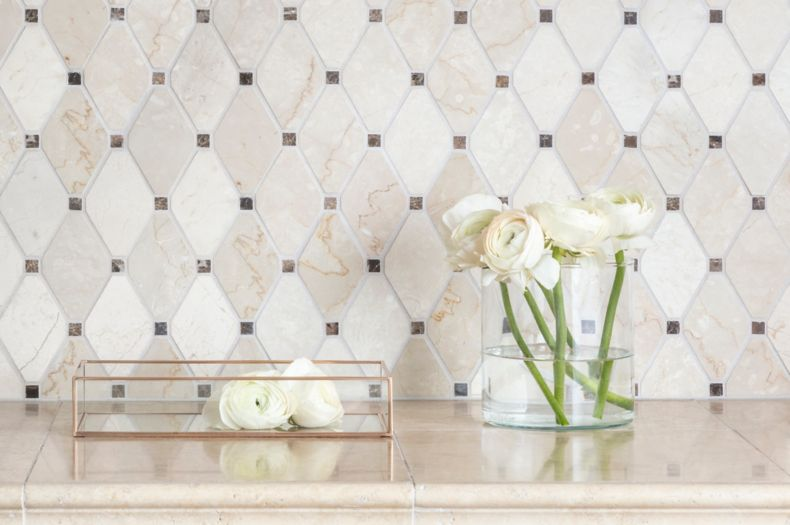 Light Brown and Grey Chevron Tiled Space