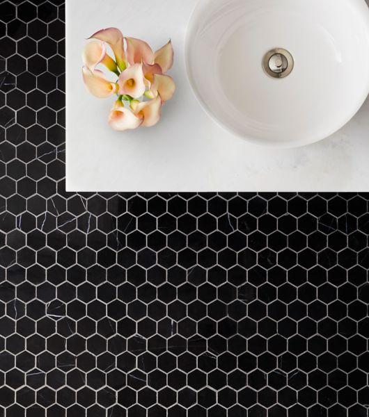 Black Marquina Hexagon Tile Bathroom Area