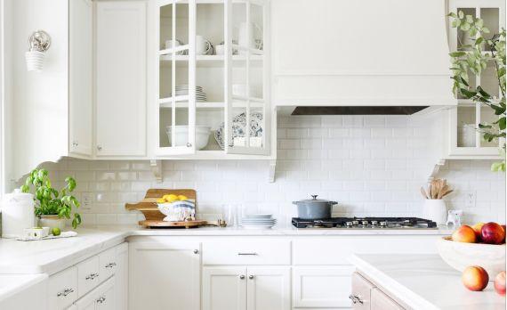 Bright and sunny kitchen with white subway backsplash.
