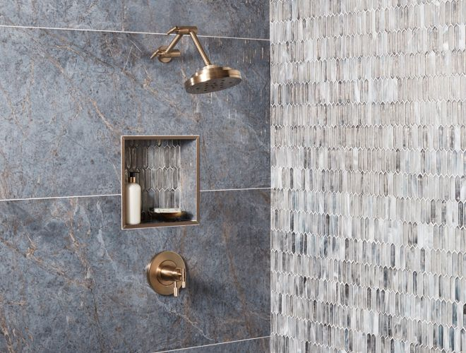 Shower with blue large-format tile.