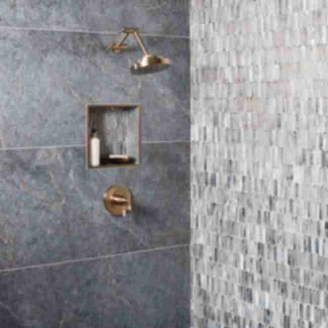 Blue marble-look shower wall.