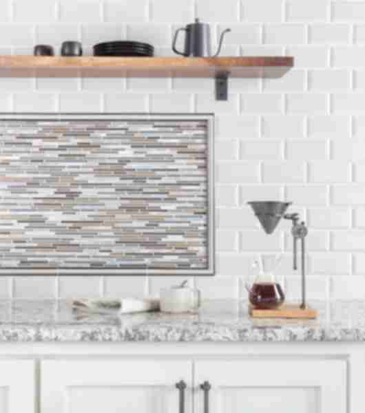 Delicieux Coffee Bar In Kitchen With White Bevel Edge Subway Tile And Metallic Stria  Accent Tile