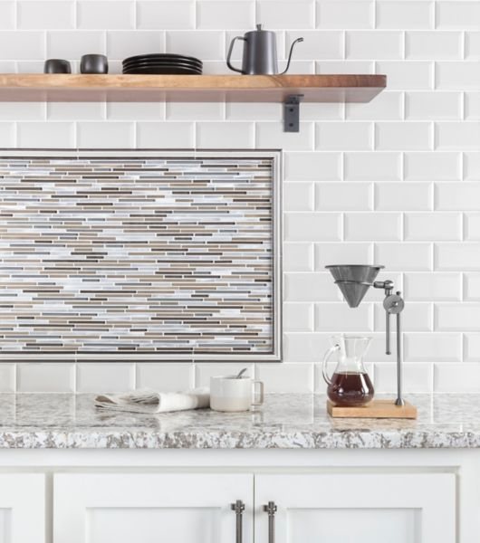 Bronze and Grey Glass Mosaic Tile Dining Area