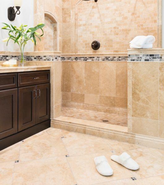 Orange Tiled Double Shower Area