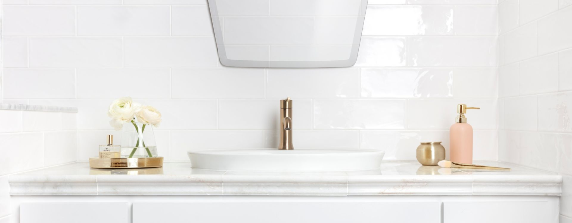 Backsplash Tile Ideas Collection A white backsplash can reflect light to create a clean, bright vibe in your  bathroom.