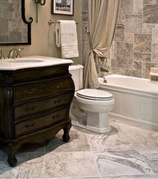Marbled Brushed Silver Tlle Bathroom Area